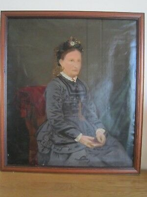 Antique  19Th Century   Russian     Oil Painting Portrait Of A Lady Framed