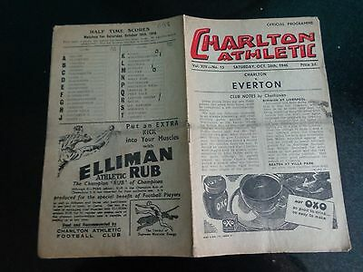 CHARLTON ATHLETIC v EVERTON     Div 1    October  26th    1946/47
