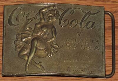 Tiffany New York Coca-Cola Risque Girl Brass Belt Buckle Sf Trans-Pan Expo 1915