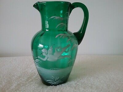 Vintage Antique Mary Gregory Emerald Jug pourer Angel playing flute hand blown