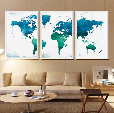 3pcs Watercolor World Map Print Office Art Hanging Poster Modern Home Wall Decor
