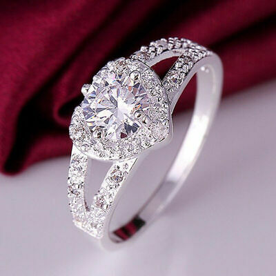 Hot Fashion  sterling silver Women Crystal Wedding Bridal Lady heart Rin Q1K1