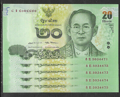 THAILAND 2016 20 BAHT KING BANKNOTE UNCIRCULATED CONSECUTIVE NUMBERS x 5 NOTES