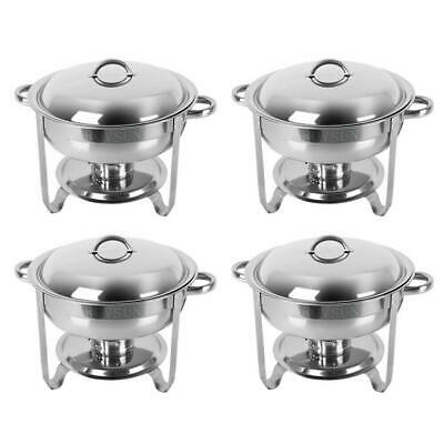 4 Pack Round Chafing Dish 5QT Stainless Steel Full Size Tray Buffet Catering