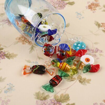 20pcs Vintage Murano Glass Sweets Stained Glass Candy Colorful Crafts Ornament