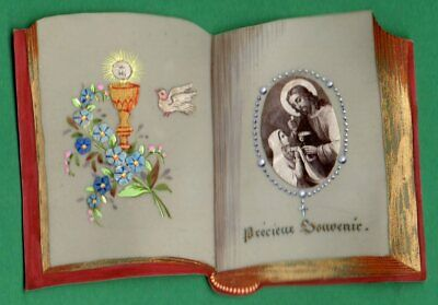 Antique 19th HAND PAINTED & w/ FABRIC BOOK SHAPE CELLULOID HOLY CARD