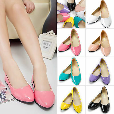 Women Ladies Casual Office Glitter Loafers Leather Ballet Dolly Pumps Flat Shoes