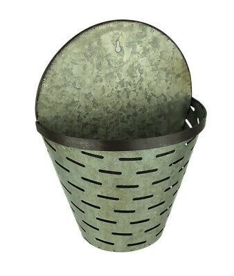 Rustic Galvanized Metal Olive Bucket Indoor/Outdoor Wall Planter