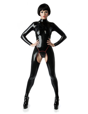 Latex Catsuit Rubber Gummi Slim Leotard Cool Crotched Jumpsuit Customized .4mm