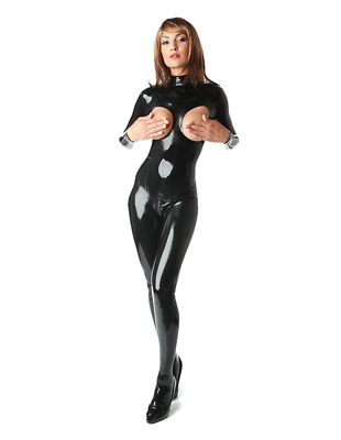 Latex Catsuit Rubber Gummi Sexy Queen Leotard Front Open Jumpsuit Customize .4mm