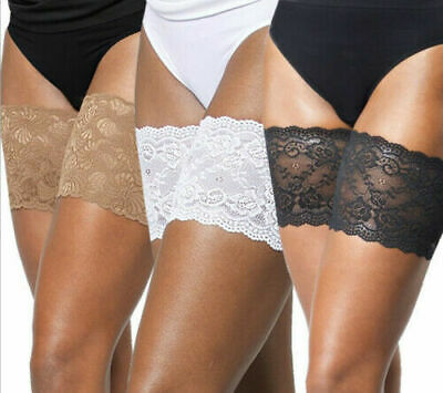 UK Elastic Lace Thigh Bands Anti Chafing Non Slip Leg Sock Prevent Abrasion PAIR