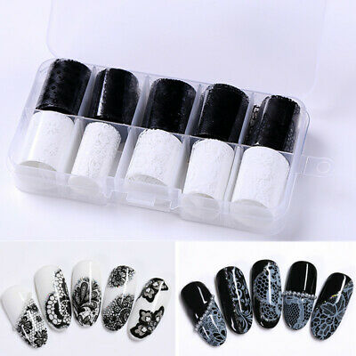 10 Rolls/Box Holographic Nail Foils Black White Lace Transfer Decals Decorations