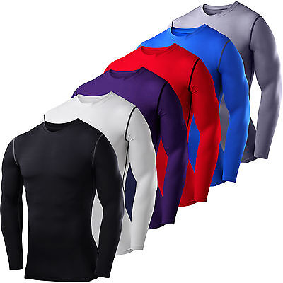 Mens Compression Base Layer Tops Long Sleeve Thermal Gym Breathable Sport Shirt