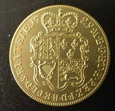 EXT RARE GEORGE II 1729 E.I.C 22 CT GOLD PLATED FIVe GUINEAS COIN IN  UNC