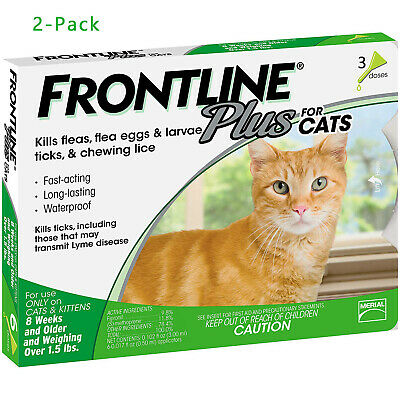 Frontline Plus Flea and Tick Treatment for Cats 3 Doses 2 PACK