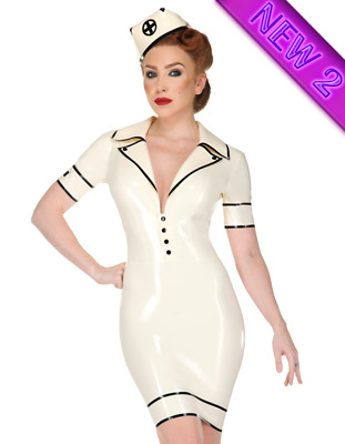 Latex Catsuit Rubber Gummi Sweet Nurse Dress Sexy Cosplay Party Customized .4mm