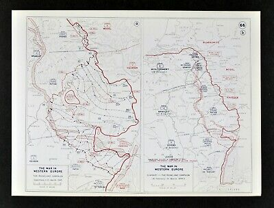 West Point WWII Map Rhineland Campaign Patton 3rd Army Push to the Rhine Germany