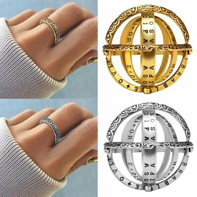 Stainless Steel Creative Astronomical Ball Ring Sphere Constellation Retro 7-10