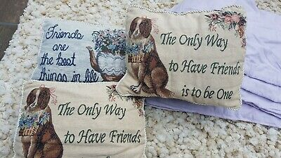 3 Tapestry Friends Cushions 11x8inch