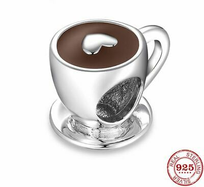 c44a9f305 925 Sterling Silver Love Free time Heart Coffee Cup Beads Original Pandora  Charm