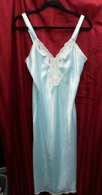 Vintage VAL MODE Night Gown Medium Mod Swank Slip Intimates Baby Blue Smooth