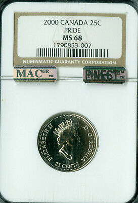 2000 Canada 25 Cents Pride Ngc Ms68 Finest Graded Rare *