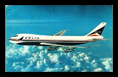Dr Jim Stamps Us Delta Boeing 747 Airplane Topical Postage Due Chrome Postcard