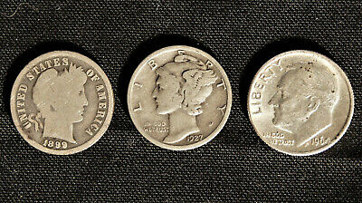 Dime lot (3) coins - Barber, Mercury, Roosevelt Dime, 90% Junk Silver Full Dates