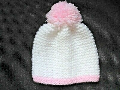 NEW Newborn Birth size BABY HAT babies white and pink wool bobble top hat girl