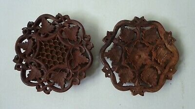 Four Hand Carved Floral Pattern Wooden Footed Trivets From India