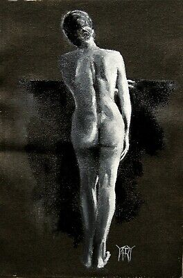SOLD Nude Black White Woman Girl FIgure Stand ORIGINAL OIL PAINTING Yary Dluhos