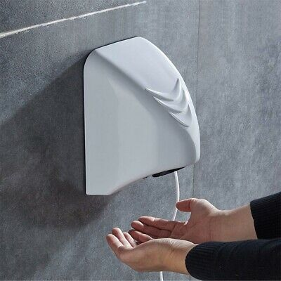 Wall Mounted Hand Dryer 220V Automatic Fast Warm Air Drier Home Commercial White