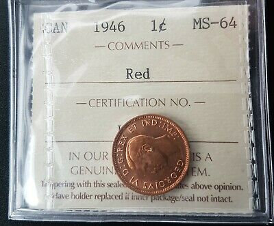 Canada 1946 1 cent ICCS MS-64 Red