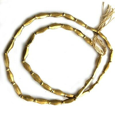 """Naga  Brass Beads Tube Spacers Strand Tribal Antique Gold Necklace 24"""" BSB03"""
