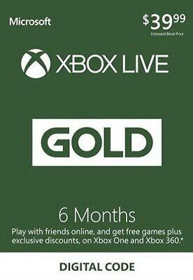 Microsoft 6 Month Xbox Live Gold Global All Regions Membership Subscription