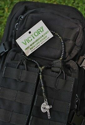 Men's Paracord Rosary - First Responder / Military (Military OD Green) 325