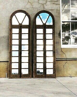 French Antique Paned Mirrored Timber Door / Arch Window - Pair Available