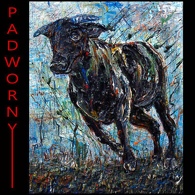 Modern Original Oil Painting Vintage Cow Bull Art Realism Signed Abstract A Pop