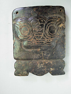 Hongshan culture Magnetic jade stone carved Person's face jade pendant E13