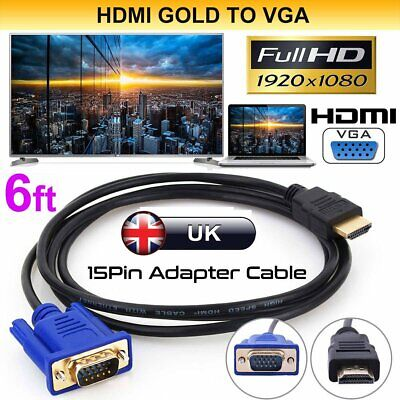 2Pcs 1.8M HDMI to VGA D-SUB Male Video Adapter Cable Lead for HDTV PC Monitor