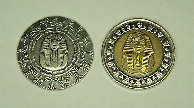 1/4 OUNCE SILVER  OLD WORLD STYLE KING TUT ROUND plus 1 pound Egyptian Tut coin