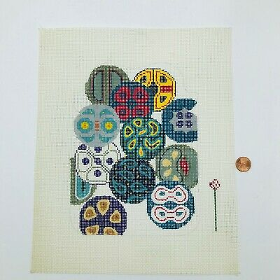 Hand Painted Needlepoint Pattern Abstract Blues Colors Circles Fimo Mid Century