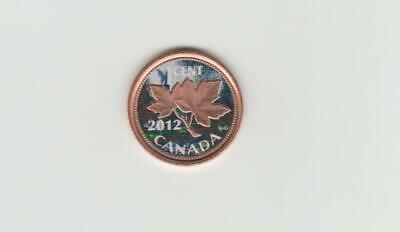 2012 gold plated and colourized Canada small cent