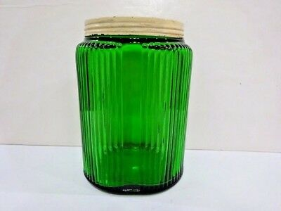 Owens Illinois Forest Green Hoosier Large Canister With Cream Lid Vintage-R