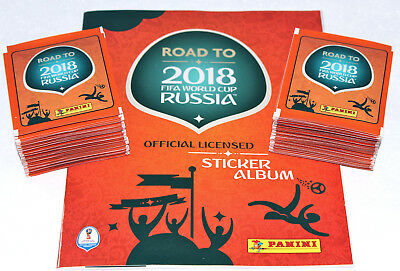 Panini ROAD TO FIFA WORLD CUP RUSSIA 2018 - 100 PACKETS 500 Sticker + ALBUM