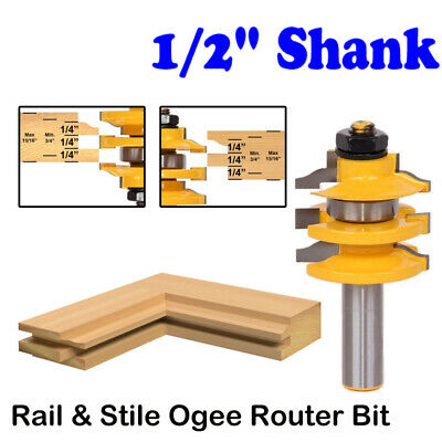 "Ogee Stacked Rail and Stile Router Bit - 1/2"" Shank Wood Milling Cutter Tools"