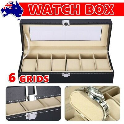 6 Grids Watch Jewelry Storage Holder Box Watches Display Organizer Showcase