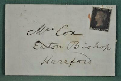 GB STAMP VICTORIA 1d PENNY BLACK ON COVER ENTIRE TO HEREFORD 1840   (K4)