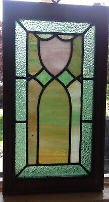 Antique  Arts & Crafts Style Leaded Stained Glass Window Small Size Oak Frame