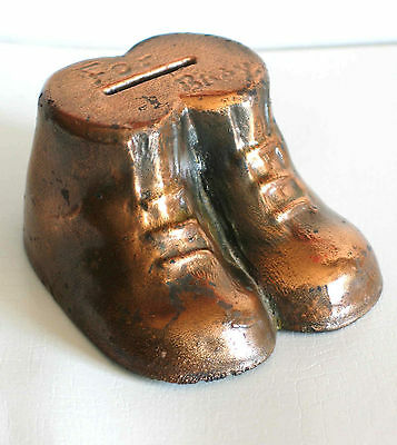 """Vintage Brass or Bronze Shoes Coin Bank FOR BABY 4"""" FREE SH"""